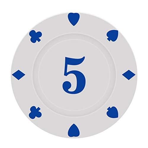 GFPR Chips Karten, Poker chip, spielchips für Schachzimmer, Casino, Party, Token, PVC Plastik, 4x0,3 cm Face Value 5(20pcs)