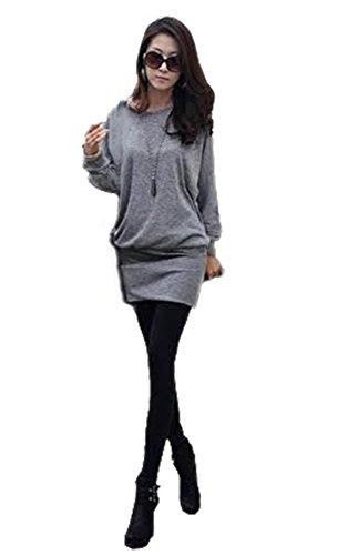 Mississhop 95-31 Damen Minikleid festlich Glitzer Kleid Pulli Tunika Grau XL