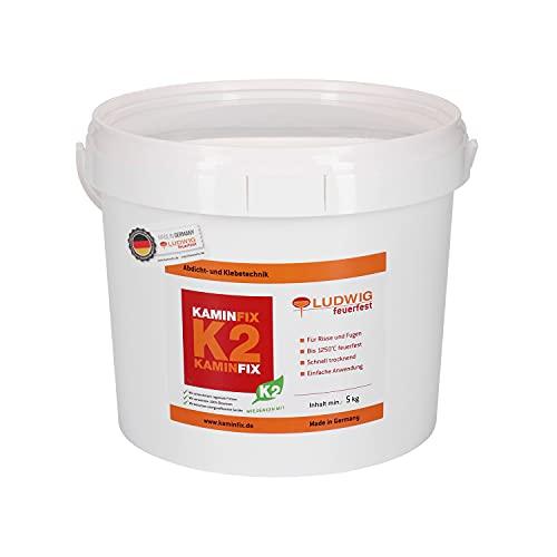 Schamottemörtel Made in Germany für die einfache und schnelle Reparatur. Ofen und Kaminmörtel Feuerfester Mörtel Feuerbeton Kaminfix K2 (5kg Eimer)