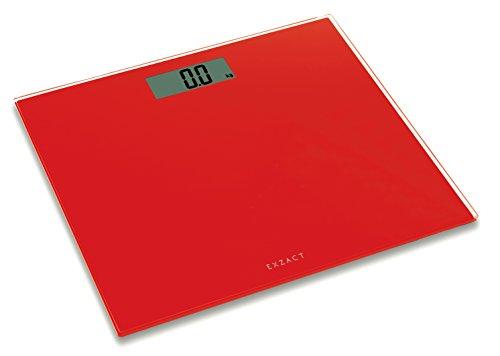 Exzact Personenwaage/Elektronische Körperwaage/Digitale Badezimmerwaage - Ultra schmal 1.7 cm Dicke -150 kg / 330 lb - Farbige Glasplattform (Rot)