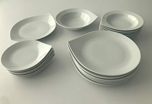 DON HIERRO - Vajilla de 20 Piezas de Porcelana, Anna, 6 Servicios (Blanco)