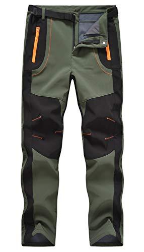 Rdruko Men's Snow Ski Waterproof Softshell Pants Outdoor Hiking Fleece Insulated Winter Pants(Green, US M)