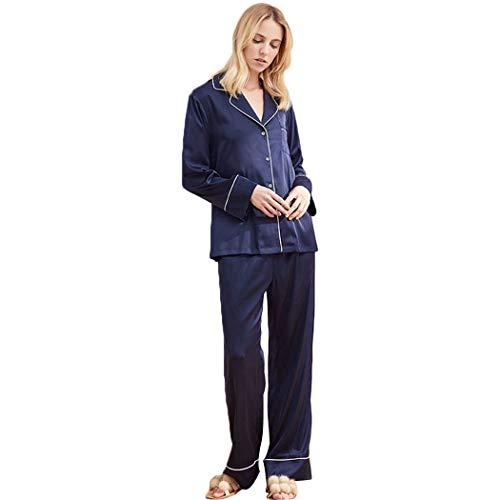 AXIANQIPJS Damen 100% Seide Pyjama Sets Mit Button Down Revers Hose Schlafanzüge Sexy Frauen-Sommer Nachtwäsche Blau (Color : Blue, Size : M)