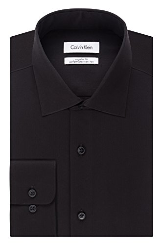 "Calvin Klein Men's Regular Fit Non Iron Herringbone Spread Collar Dress Shirt, Black, 16.5"" Neck 34""-35"" Sleeve"