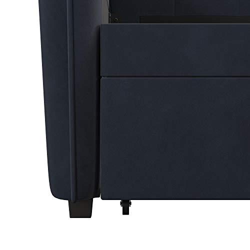 Novogratz Tallulah Tufted Daybed and Trundle, Classic Vintage Design, Twin Size - Blue Velvet