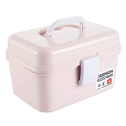 HXF- Pillendose PP 22 * 15 * 14cm Haushaltsmedizin Box Medizin Aufbewahrungsbox * Robust (Color : Pink)