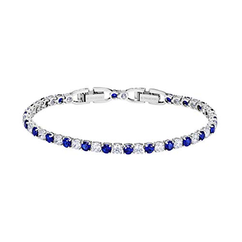 SWAROVSKI Tennis Deluxe Bracelet with Dark Blue and White Crystals on a Rhodium Plated Setting