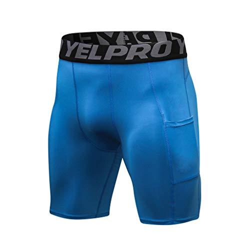 sunnymi - Pantalones Cortos de Deporte para Hombre Azul S