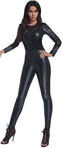 Firstclass Trendstore Overall in Leder-Optik Gr. S M L XL XXL (34-44) Bodysuit Einteiler Spitze Jumpsuit Hosenanzug (Rosie Gr. S)