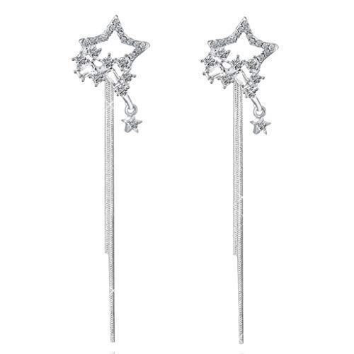 MIORIO Pendientes Colgantes de Estrella de Cinco Puntas Huecos con Diamantes de imitación de Cristal de Moda para Mujer FA
