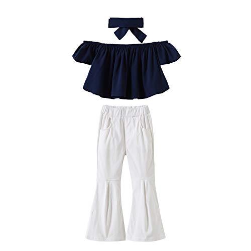 AIKSSOO kinderen meisjes navy schoudervrij katoen T-shirt tops + witte broek met wijde pijpen