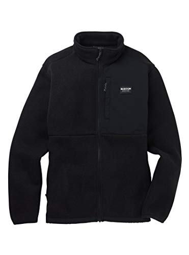 Burton Mens Hayrider Sweater Fleece Full Zip, True Black, X-Large