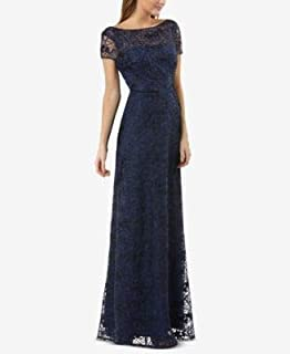 JS COLLECTION Womens Navy Low Back Embroidered Illusion Gown Cap Sleeve Boat Neck Full-Length Evening Dress US Size: 4