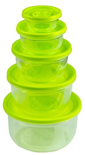 HRB 5er Frischhaltedose Set 0,1-1,5 L, lebensmittelechte Vorratsdosen, Aufbewahrungsbox mit Deckel geeignet für Mikrowelle und Tiefkühltruhe, Spülmaschinen geeignete Aufschnittbox