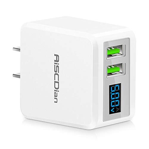 Cargador de ared USB, Puertos USB Duales de 5V / 2.1A, Adaptador de Corriente Compacto con Pantalla LCD,…