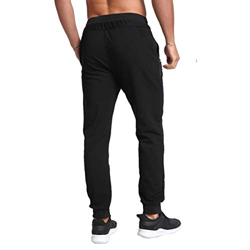 Tansozer Tracksuit Bottoms for Men Gym Sports Trousers Mens Joggers Slim Fit Cotton Fitness Jogging Bottoms with Zip Pockets (Black, X-Large)