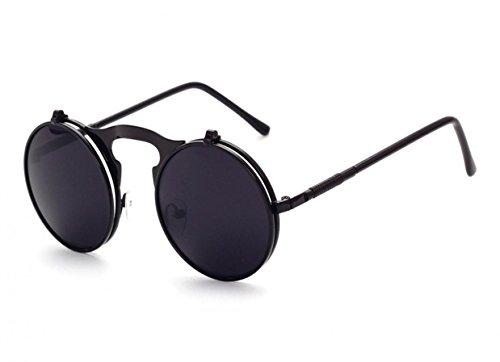 WODISON Steampunk Style Sonnenbrille Flip up runde Linse für Männer Frauen mit Tasche (Schwarzer Rahmen Schwarzes Objektiv)