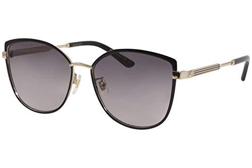 Gucci GG 0589SK 001 Black Gold Metal Cat-Eye Sunglasses Grey Gradient Lens