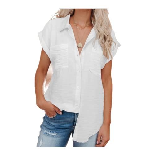 Camisa de Manga Corta con Solapa para Mujer Bolsillos de Costura de Color sólido de Moda Camisa básica Informal de un Solo Pecho clásico Top S