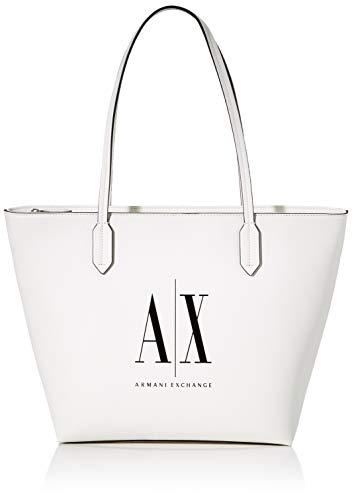 Armani Exchange Bolso para mujer con cremallera y cremallera, 30,5 x 11 x 29,5 cm, color Blanco, talla 30.5x11x29.5 cm (B x H x T)