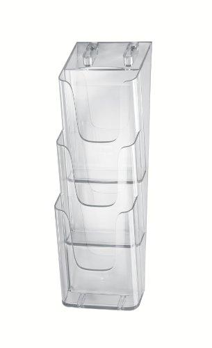 Porta-folletos de pared acrylic, con 3 compartimentos, Material acrílico, para DL, 1 unds