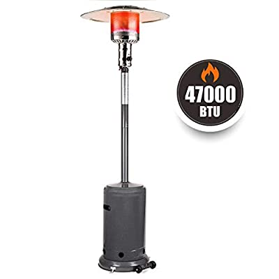 TACKLIFE Patio Heater, 47000 BTU, Outdoor Propane Heater with Wheels,Auto Shut Off Portable Heater with Piezo Ignition System, Stainless Steel Stove, Last for 10h, Outdoor Companion, ETL Certification