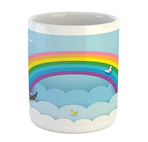 N\A Taza de fantasía, Nubes arcoíris de Mariposas, pájaros Volando, Dibujos Animados de Felicidad Infantil, Taza de café de cerámica para Bebidas de té de Agua, 11 oz, Azul bebé y Multicolor