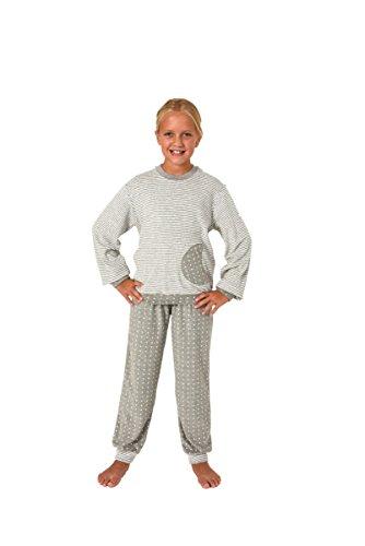 NORMANN-Wäschefabrik Mädchen Frottee Pyjama Langarm mit Bündchen - Sterne Tupfen und Streifenoptik - 401 93 200, Farbe:Ringel grau;Größe:116