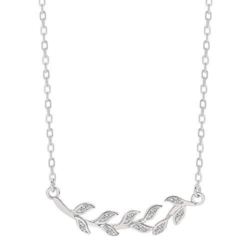 Bluesteer Collar de Hoja de Plata de Ley 925 AAA Circón Brillante Colgante de Temperamento Simple Mujeres Accesorios de Compromiso romántico Regalo, Platino, 40 cm