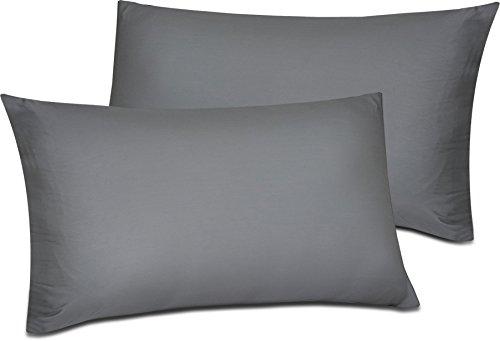 Utopia Bedding cotone spazzolato ipoallergenico, massima morbidezza e facilità di manutenzione, doppia cucitura ammessa, riduzione delle allergie e dell'irritazione respiratoria. (Grigio,40 X 80 cm)