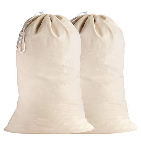 SweetNeedle - Pack de 2 - 100% algodón Bolsas de lavandería extra grandes y deber pesadas en color natural - 71 x 91 CM (28 IN x 36 IN) - Muy duraderas, con cordón, lavables a máquina y reutilizables