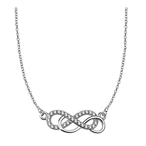 SOFIA MILANI - Collar para Mujeres en Plata de Ley 925 - con Circonitas - Colgante Doble Infinito - 50137