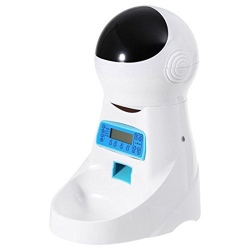Pujuas Distributore Cibo Automatico per Gatti e Cani, Alimentatore per Animali Domestici con LCD Display e Timer, Registra Voce (4L)