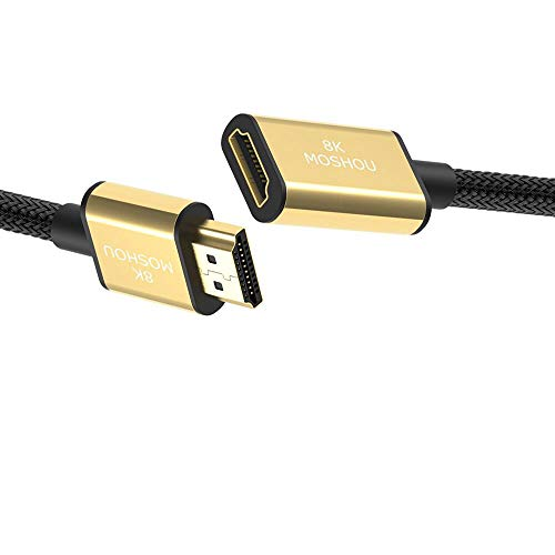 MoShou - Cable Alargador HDMI/HDMI 2.1 Macho a Hembra/UHD HDR 8K 120Hz 2160p 4320p 3D / eARC Dolby Vision Atmos/Ultra Alta Velocidad 48Gbps Ethernet (Alargador - 2 m)