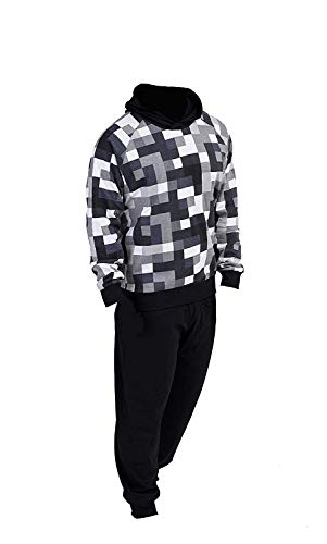 Pixel Pijamas Niños Ropa de Dormir para niños Pijamas 100% algodón Sudadera con Capucha Sudadera Chándal para niño Videojuego PJ Set (7-8 años, Negro Pixel)