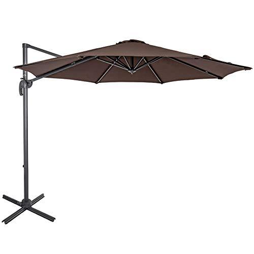 Sundale Outdoor 10ft Offset Hanging Umbrella Market Patio Umbrella Aluminum Cantilever Pole with Crank Lift, Corss Frame, Polyester Canopy, 360°Rotation, for Garden, Deck, Backyard (Coffee)
