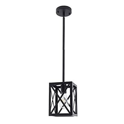 Vintage Bathroom Cage Hanging Lantern Lighting Fixtures,Farmhouse Pendant Light,Metal Adjustable Ceiling Pendant Light Fixture for Kitchen Island Restaurant Kitchen Sink