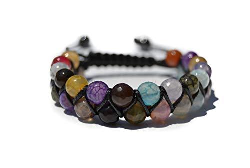 World Crmy Pulsera Mujer Hombre Piedras Naturales semipreciosas Facetadas Ideal Gemoterapia Yoga Reiki 7 Chakas Kundalini Meditación