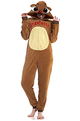 Disney Rudolph The Red Nose Reindeer Women's Sherpa/Microfleece Onesie Union Suit, X-Large