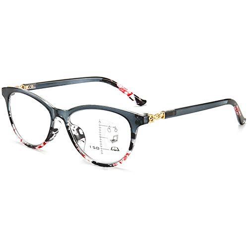 KOOSUFA Damen Gleitsichtbrille Progressive Multifokus Lesebrille Anti-Blaulicht Katzenauge Hornbrille Sehhilfe Lesehilfe Anti Müdigkeit Brille 1,0 1,5 2,0 2,5 3,0 3,5 (1x Grau, 2.0)