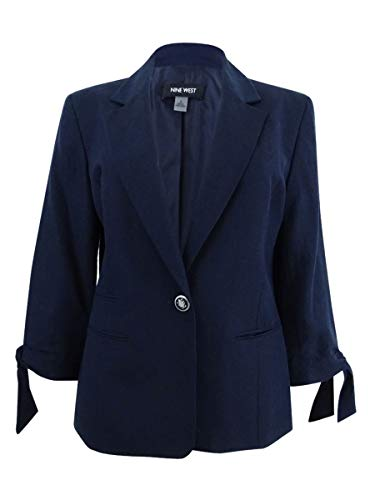 NINE WEST Women's Linen 1 Button Jacket with Self Ties on Sleeves