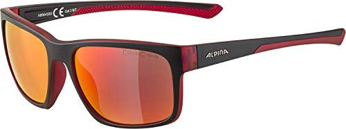 ALPINA Unisex - Erwachsene, LINO I Sportbrille, black-red transparent matt, One Size