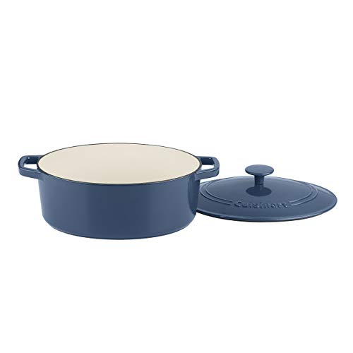 Cuisinart Cast Iron Casserole, 5.5 Qt Oval Covered, Enameled Provencial Blue
