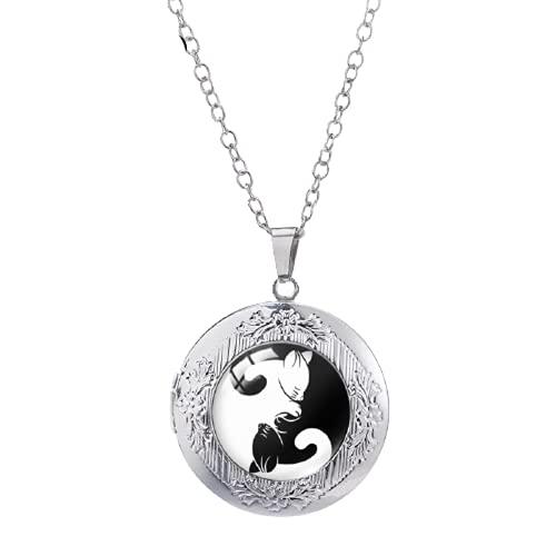 Nuevo Yin Yang gato Locket collar negro blanco colgantes redondo cristal cabujón foto joyería hecha a mano regalos