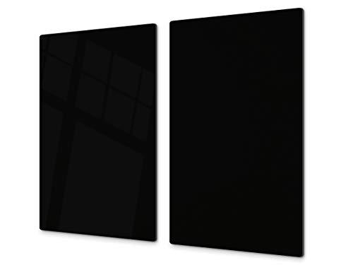 Tabla de cortar decorativa de cristal templado y cubre vitro – Dos en Uno – Resistente a golpes y arañazos – UNA PIEZA (60 x 52 cm) o DOS PIEZAS (30 x 52 cm); D17 Serie En blanco y negro: Black