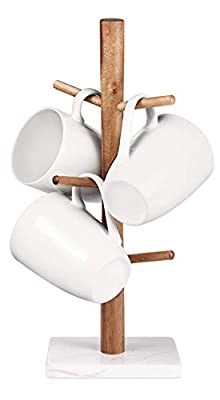 Buruis Wood Mug Holder, Marble Base Cup Rack Tree, Mug Stand Hanger, Kitchen Coffee Mug Tree Countertop Tea Cups Holder Stand, Coffee Cup Dryer with 6 Hooks