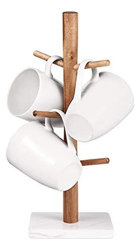 Buruis Wood Mug Holder Marble Base Cup Rack Tree Mug Stand Hanger Kitchen Coffee Mug Tree Countertop Tea Cups Holder Stand Coffee Cup Dryer with 6 Hooks