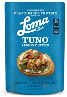 Loma Linda Blue - Plant-Based Meal Solution - Lemon Pepper Fishless Tuna (3 oz.) (Pack of 12) - Non-GMO, Gluten Free