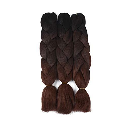 Leyoo 450g Kanekalon Jumbo Braiding Hair For Beauty (150g/Bundle,3 Bundles/Pack) 24 Inch Low Temperature Jumbo Braid For Girls (4/99D/30B)