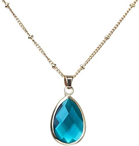 NC188 Collares Pendientes de Piedra para Mujer Collares Pendientes de Cristal Azul con Forma de lágrima de Piedras Preciosas Naturales con Cadena Dorada Regalo para